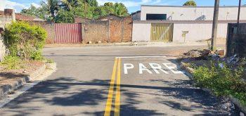 Prefeitura de Campos Verdes realiza pintura de sinalização de trânsito em diversas ruas e avenidas da cidade